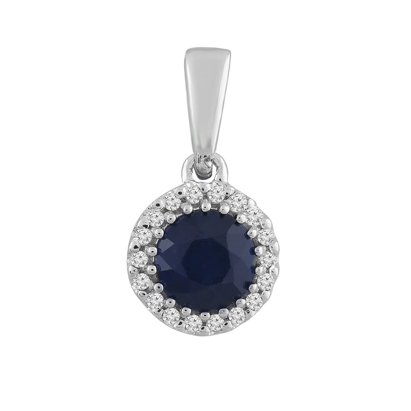 Sapphire Pendant with 0.03ct Diamond in 9K White Gold