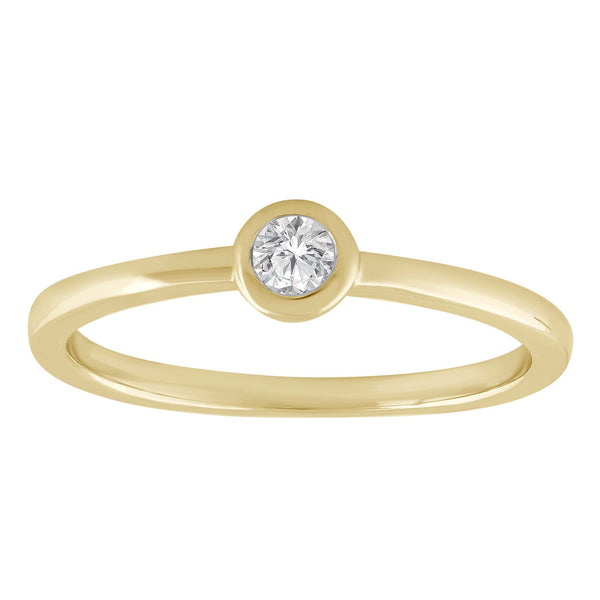 Solitaire Ring with 0.1ct Diamond in 9K Yellow Gold