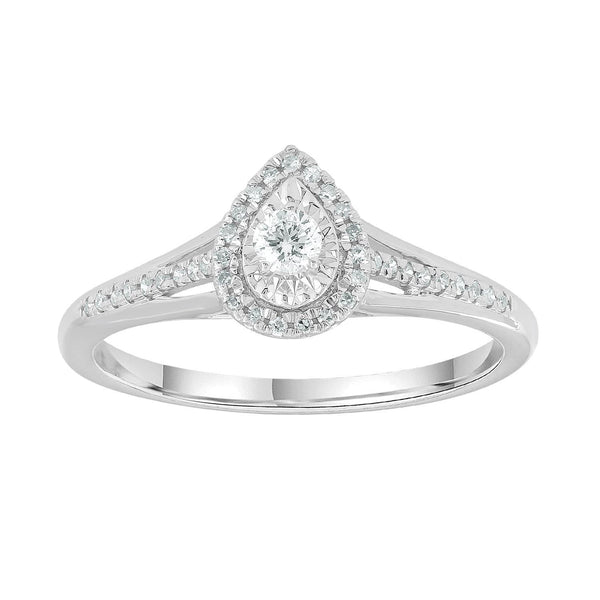 Pear Ring with 0.2ct Diamonds in 9K White Gold