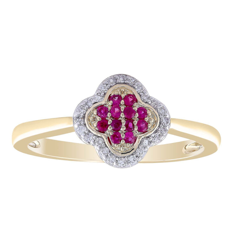 Ruby Ring with 0.07ct Diamond in 9K Yellow Gold