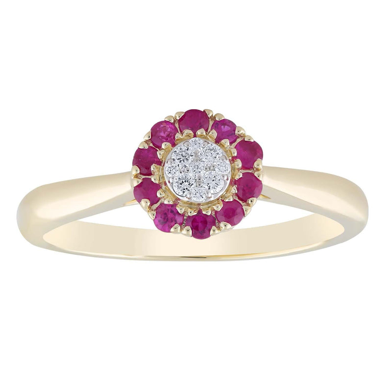 Ruby Ring with 0.05ct Diamond 9K Yellow Gold