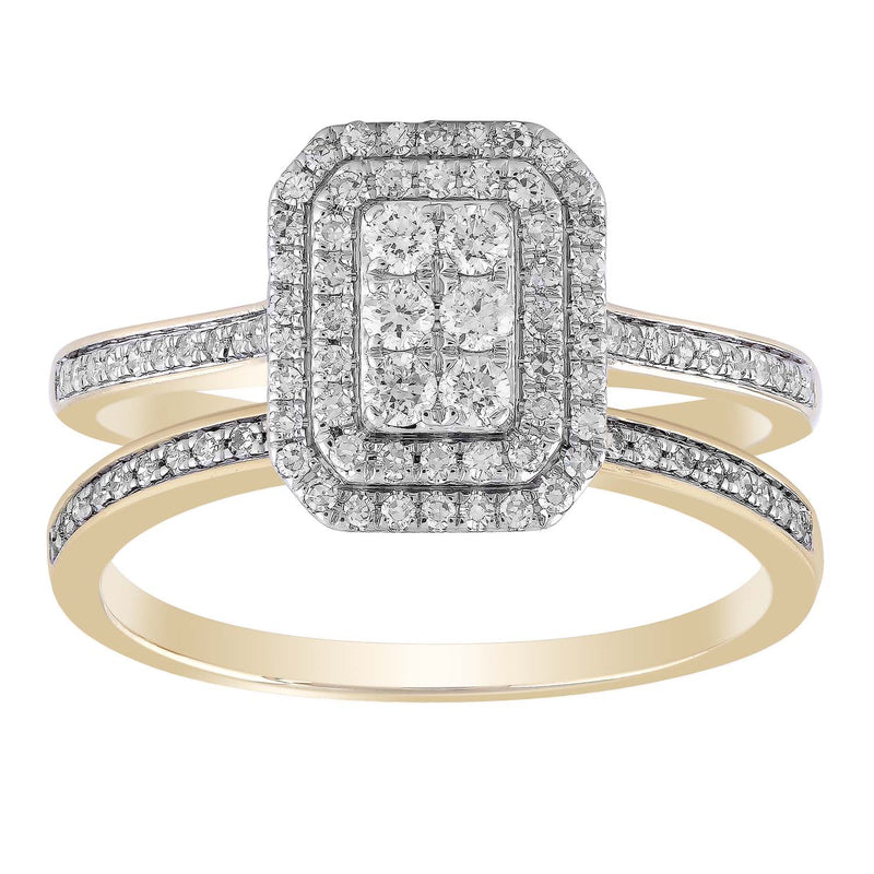 Cluster Ring Set with 0.5ct Diamond in 9K Yellow Gold