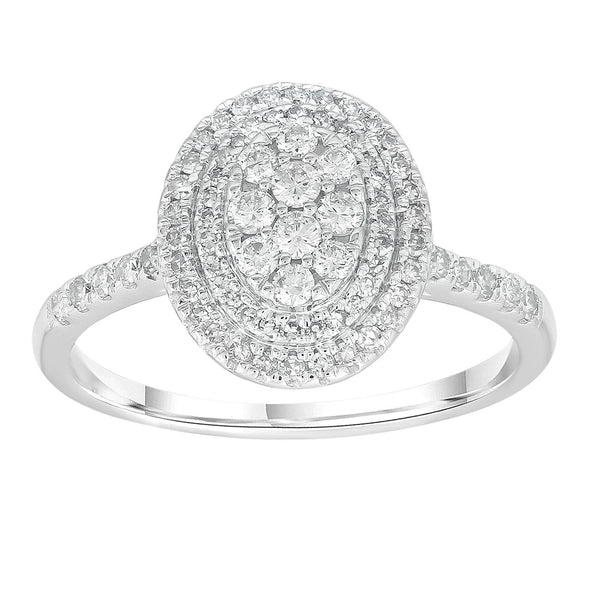 Cluster Ring with 0.5ct Diamonds in 9K White Gold