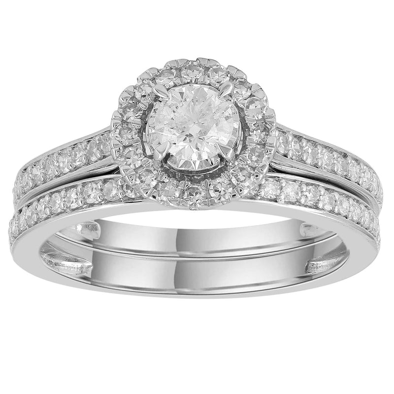 Engagement & Wedding Ring Set with 0.75ct Diamonds in 9K White Gold