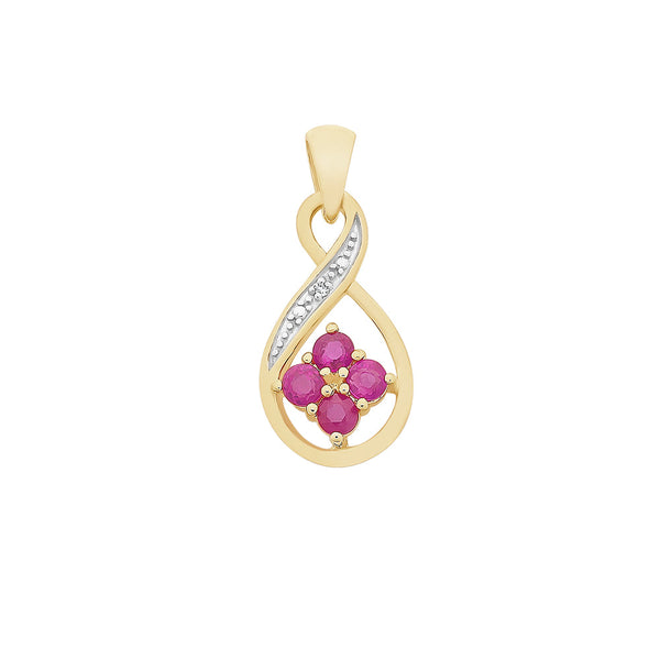 9ct Yellow Gold Natural Ruby & Diamond Pendant