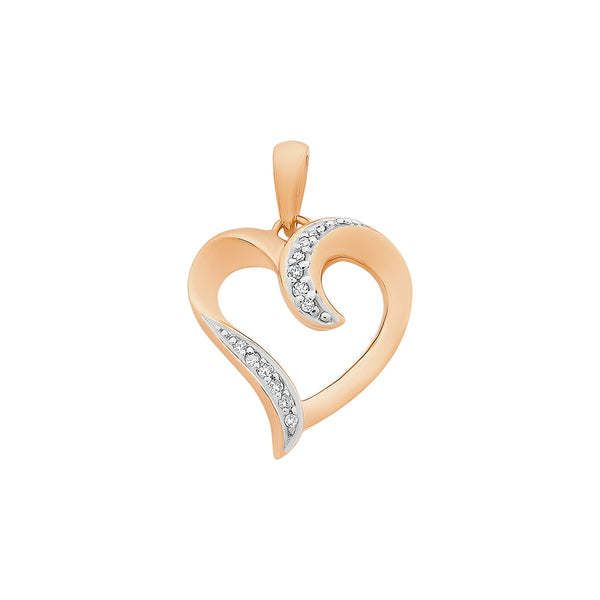 9ct Rose Gold Diamond Heart Pendant