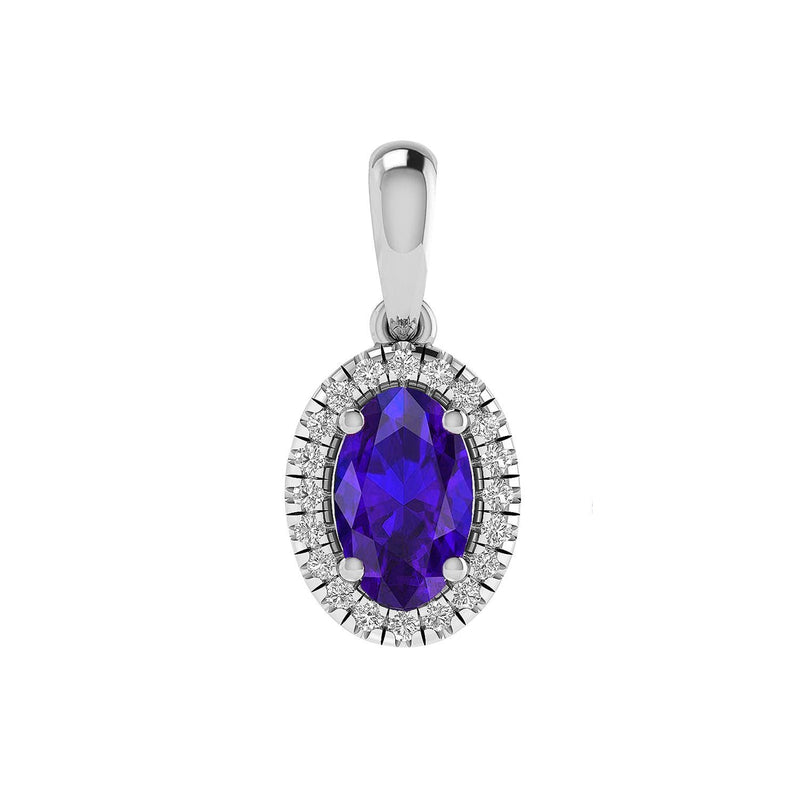 Sapphire Pendant with 0.07ct Diamonds in 9K White Gold
