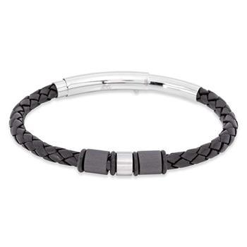 Save Brave Ethan Black Leather Bracelet 19.5+1.5cm