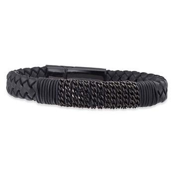 Save Brave Freddy Black Leather Bracelet 21cm