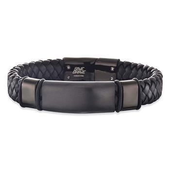 Save Brave Roma Black Leather Woven Bracelet 21cm