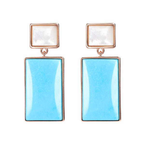 Bronzallure Mother of Pearl & Magnesite Rectangular Earrings