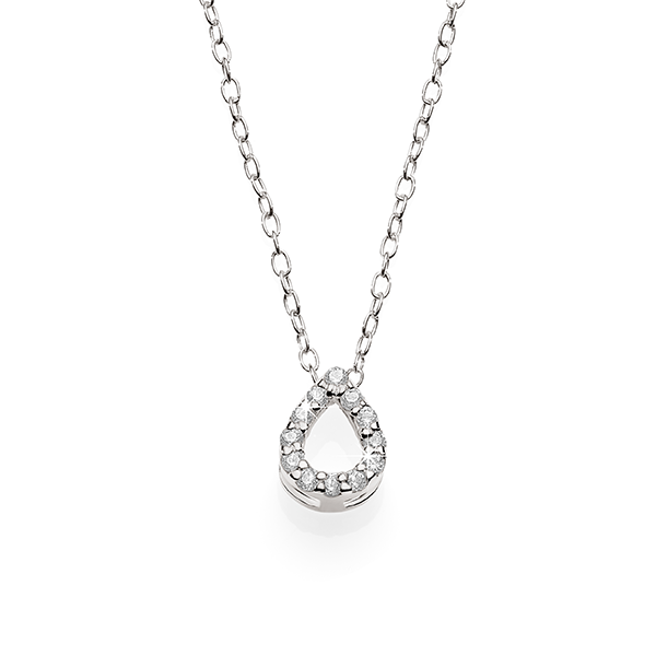 Silver cubic zirconia pear necklace