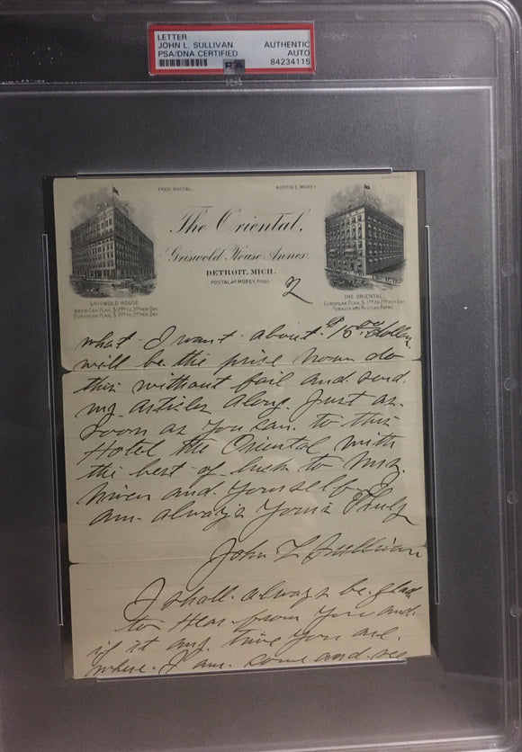 John L. Sullivan 2 page handwritten letter on beautiful  hotel stationery interesting content.  PSA/DNA encapsulated - LW Sports