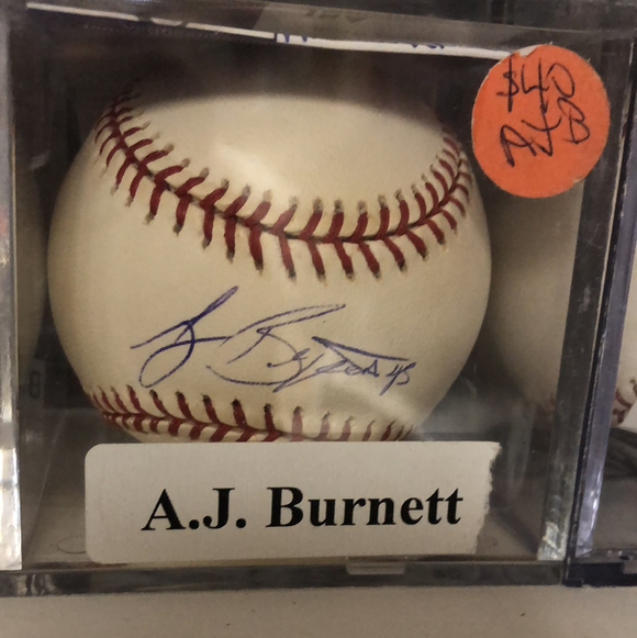AJ Burnett autographed MLBall - LW Sports