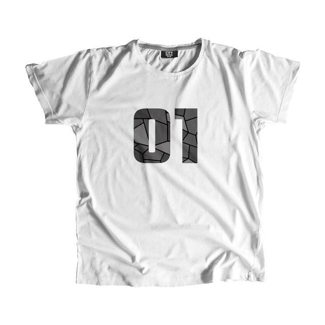 01 Number Men Women Unisex T-Shirt (White)
