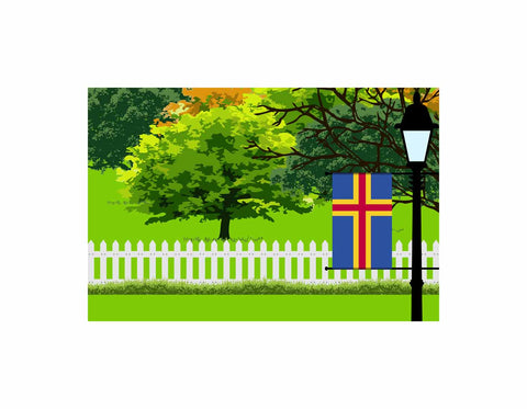 Aland Flag Trees Street Lamp Poster