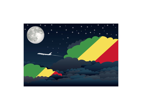 Congo, Republic of the Flags Night Clouds Poster