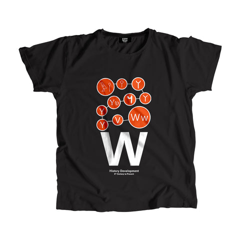 W Letter History Development Men Women Unisex T-Shirt