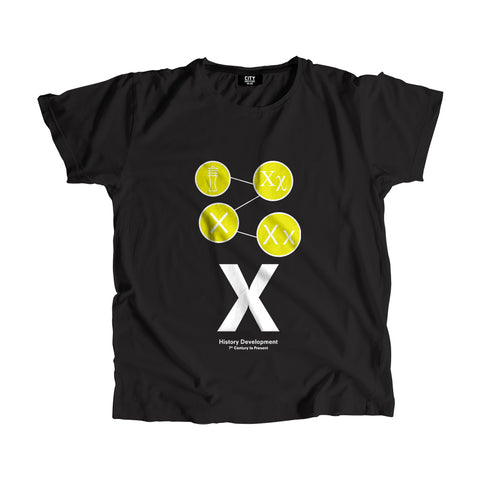 X Letter History Development Men Women Unisex T-Shirt