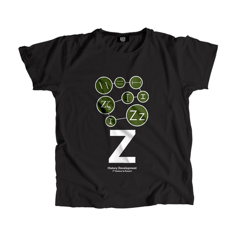 Z Letter History Development Men Women Unisex T-Shirt