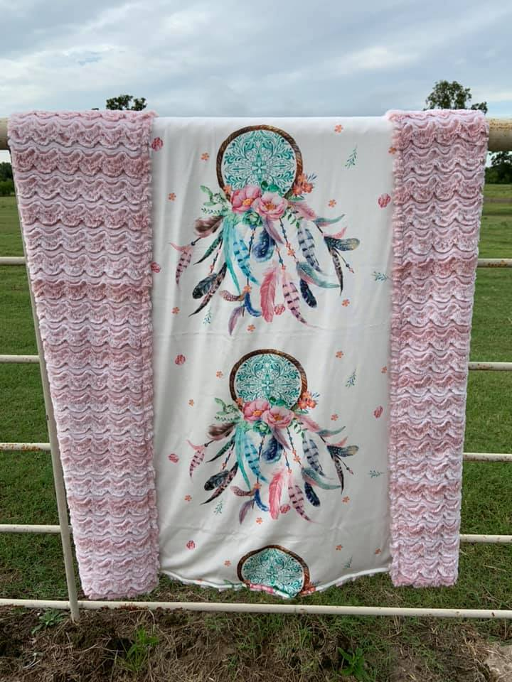 Dream Catchers & Feathers Blanket
