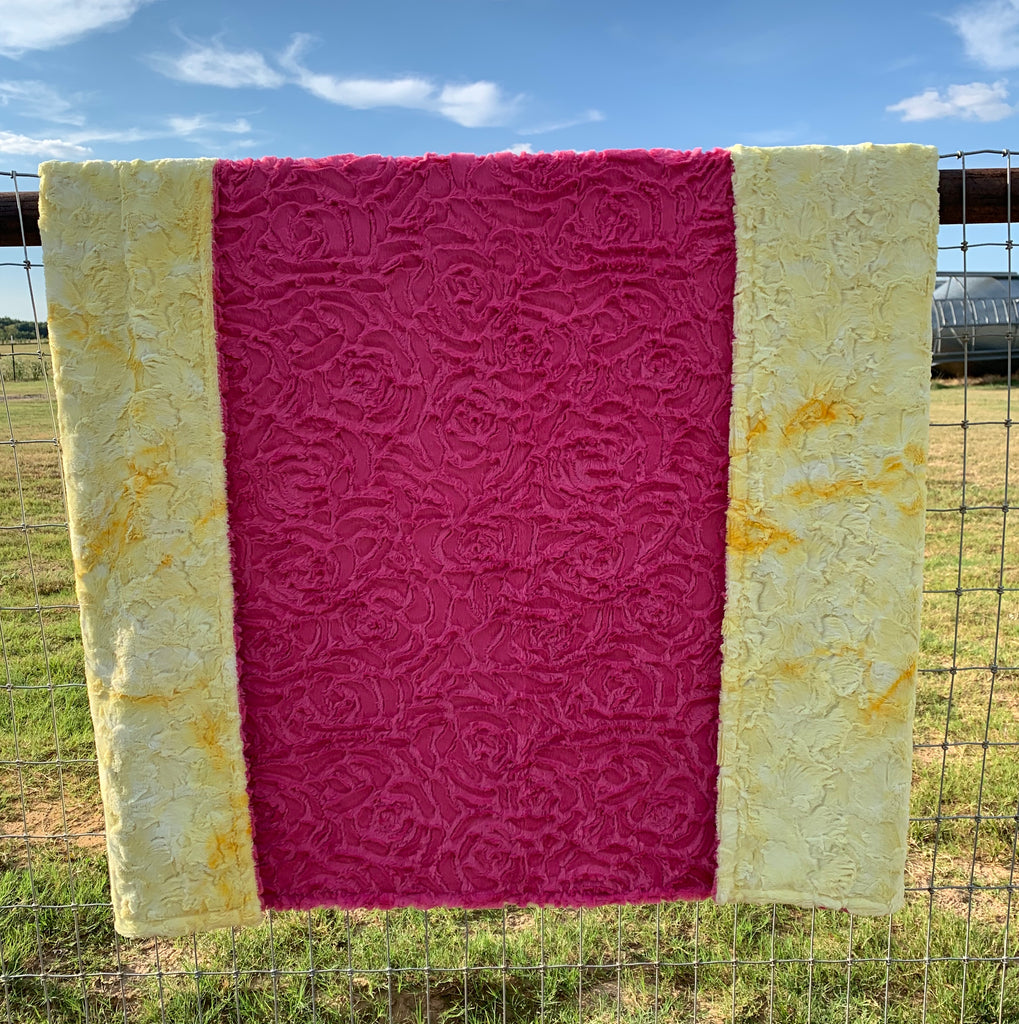 Yellow Tie-Dye and Pink Rose Minky Blanket