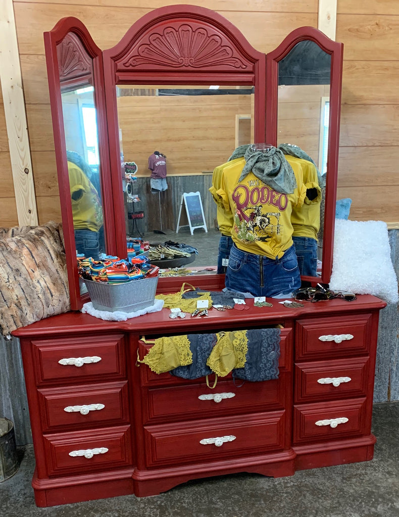 Vintage Dresser with Tri Fold Mirrors