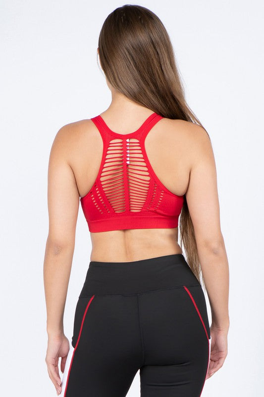 Macrame Cut Out Sports Bra
