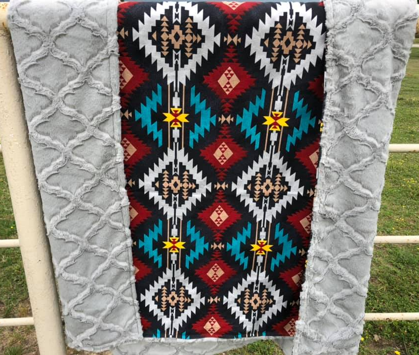 Black & Multi Tribal Printed Blanket