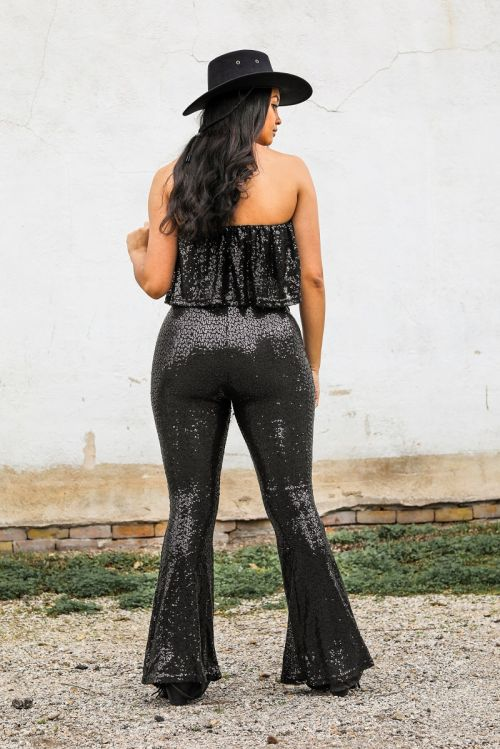 Black Sequin Jumpsuit with Ruffled Bodice