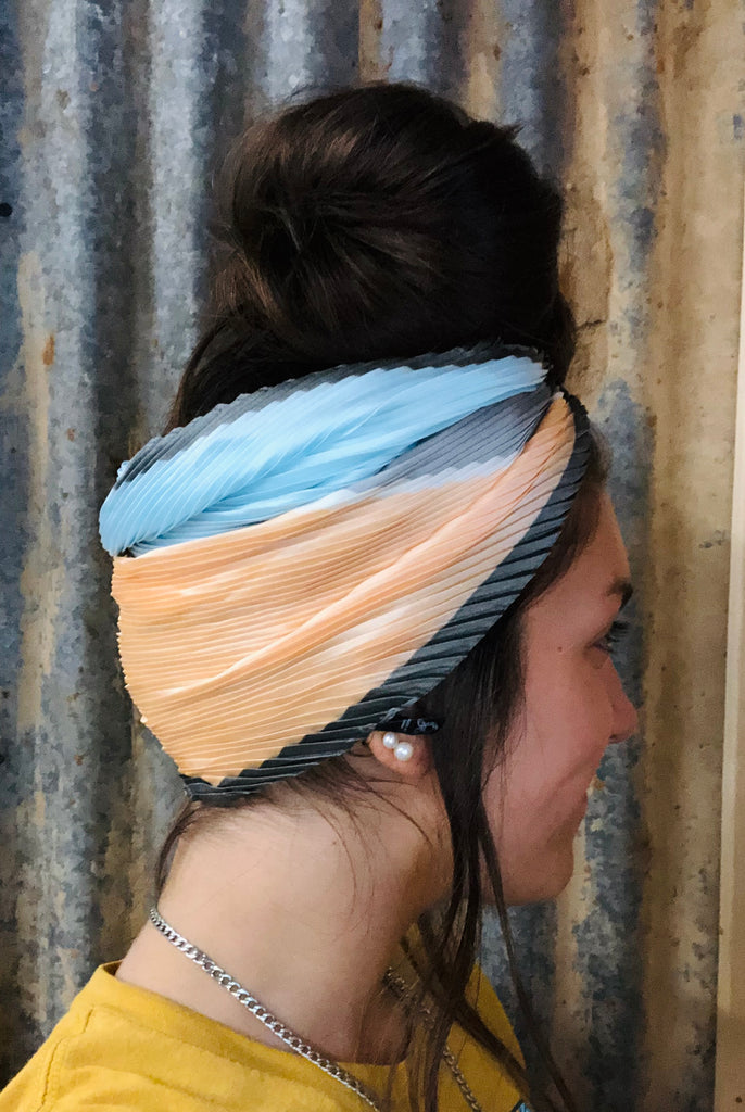 Blue And Peach Head Wrap