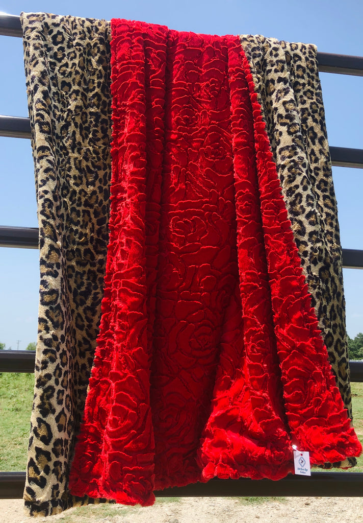 Cheetah and Red Rose Minky Blanket