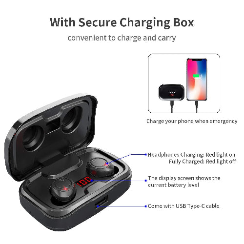 TWS X10 wireless earphones bluetooth IPX7 waterproof Volume control BT V5.0 Noise Reduction 3D stereo 3500mAh Battery capacity Charging Case [As Power Bank]