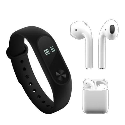 M2 Band Wristband Bracelet + AirPods Wireless Strereo Headset with Mic and charging case ( White ) | Compatible with all Devices