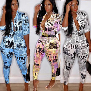 Plus Size Newspaper Print Long-sleeved Jumpsuit