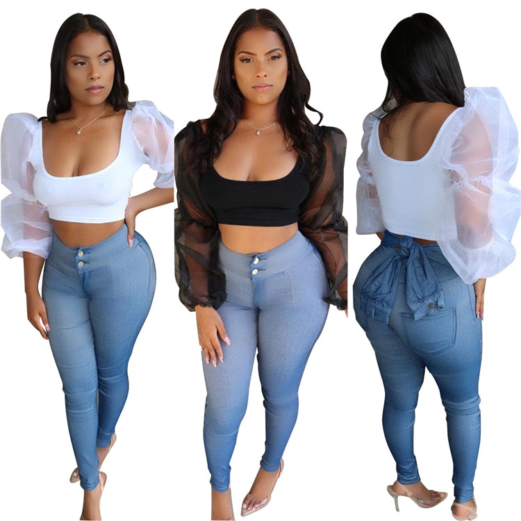 E92147 women 2020 new product solid color Long-sleeved mesh sleeve upwear U neck sexy women crop top hot sale on Amazon wholesale