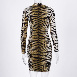 Sexy Leopard Bodycon Long-sleeved Dress