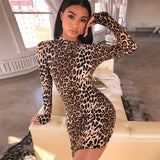 A91192  Wholesale fashion sexy O neck long sleeve casual lady leopard printed bodycon mini dress for women clothing 2019