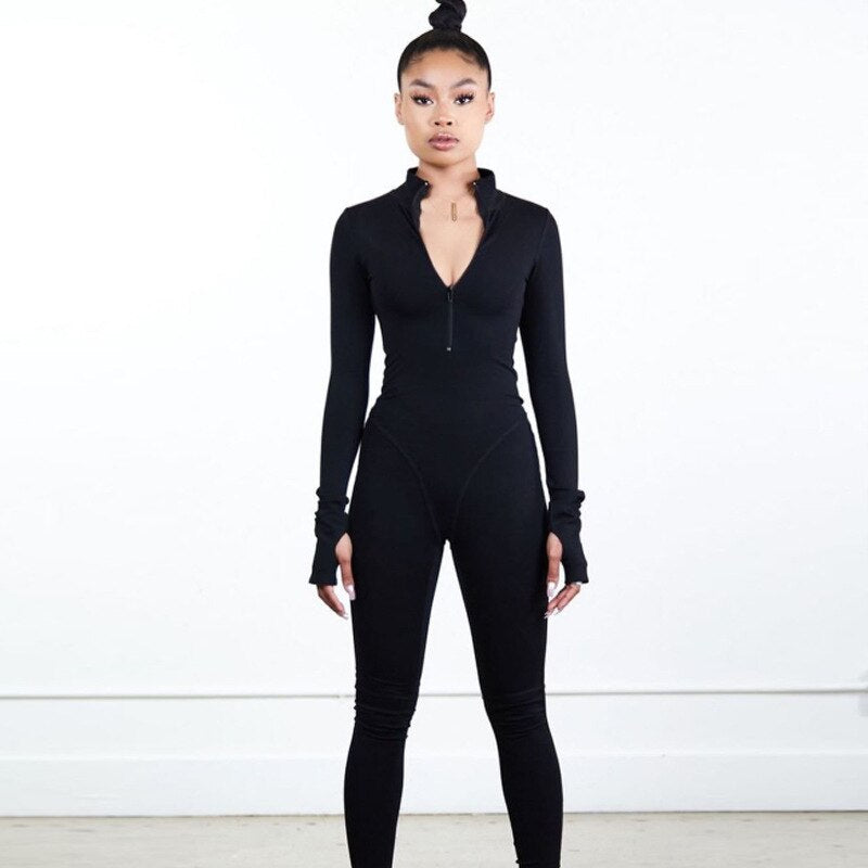 Long Sleeve Bodycon Solid Winter Sexy Grey Fitness Jumpsuit