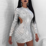 Sexy Bodycon Round Neck Long-sleeved Backless Sequin Dress
