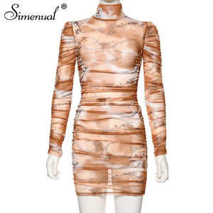 Transparent Long-sleeved Party Dress