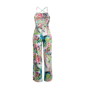 Summer Print Backless Bodycon Playsuit
