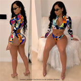 DH9041 Summer 2020 Digital Print Long-sleeved Beachwear two piece Swimsuit