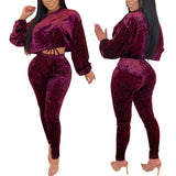 Dropshipping in stock women velvet sport cotton womens two piece set jumpsuit pants