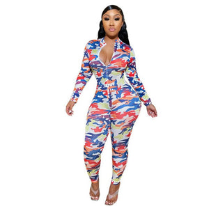 Printed Long-sleeved Bodycon Jumpsuit