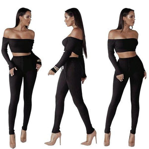 Solid Slash Neck Long-sleeved Two Piece Set