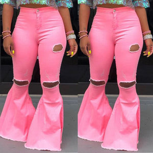 Skinny High Waist Ripped Flare Pants