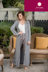 Grey Pajama Set With Colorful Talon