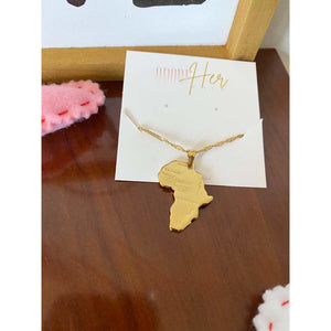 Femi Africa Map Gold Necklace-Adore Her Sole