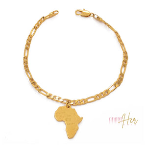 Femi Africa Map Gold Anklet-Adore Her Sole